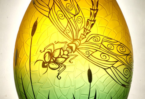 Dragonfly Glass Vase