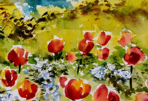 tulips in a field watercolor